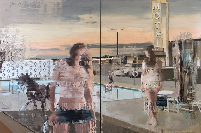 Andy Denzler, The Pool, 2018, 200 x 300 cm, Oil on Canvas, Diptych © Andy Denzler