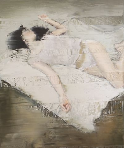 Andy Denzler, Woman with White Shirt on a White Cover, 2018, Oil on canvas, 180 x 150 cm © Andy Denzler