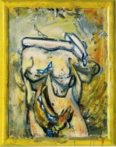 Nachtmilch, 2004, acrylic and varnish on grounded canvas, painted wood frame © VBK, Wien, 2005