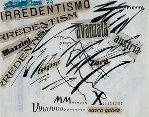 Irredentism. Free words, Filippo Tommaso Marinetti; 1914 ink,pastel and collage on paper; Private collection Schweiz © VBK, Wien, 2003