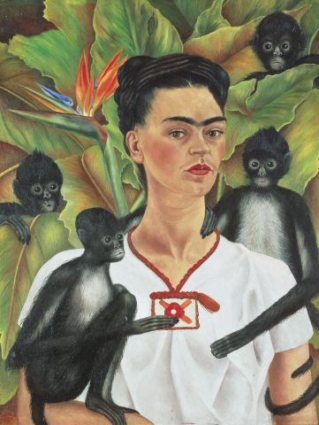 FRIDA KAHLO Selbstbildnis mit Affen, 1943 Autorretrato con monos Self-Portrait with Monkeys Öl auf Leinwand, 81,5 x 63 cm The Jacques and Natasha Gelman Collection of 20th Century Mexican Art and The Vergel Foundation Foto: Gerard Suter, © The Jacques and © Banco de México, Diego Rivera & Frida Kahlo Museums Trust, México, D.F./VBK, Wien, 2010