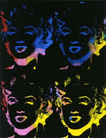 Andy Warhol, Four multicoloured Marilyns (Reversal Series), 1979-1986, Acryl und Siebdruck auf Leinwand, 92 x 71 cm, Privatbesitz, Courtesy Galerie Bruno Bischofberger, Schweiz © Foto: Galerie Bruno Bischofberger, Schweiz © 2014, The Andy Warhol Foundation for the Visual Arts, Inc., New York; Bildrecht, Wien