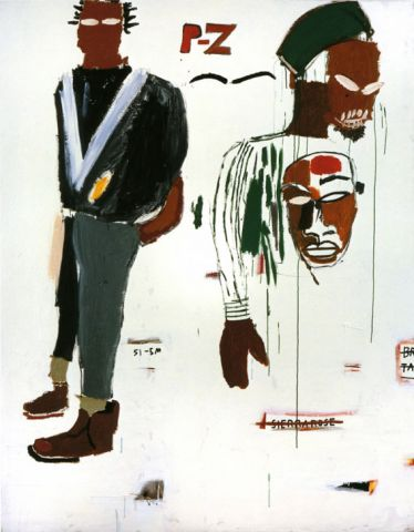 Jean-Michel Basquiat, P-Z, 1984, Acryl und Ölkreide auf Leinwand, 218,5 x 172,5 cm, Privatbesitz, Courtesy Galerie Bruno Bischofberger, Schweiz © Foto: Galerie Bruno Bischofberger, Schweiz © The Estate of Jean-Michel Basquiat; Bildrecht, Wien, 2014